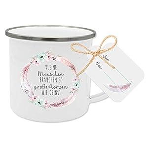 Geschenk für Erzieherin, Tagesmutter, Kinderärztin, Kinder- Krankenschwester, Lehrerin I Dankeschön Emaille-Tasse