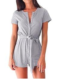 Beautisun Overall Damen Jumpsuit Sommer Playsuit V-Ausschnitt Short Sleeve  Kurz Elastisch Hohe Taillen Casual… 734086f702