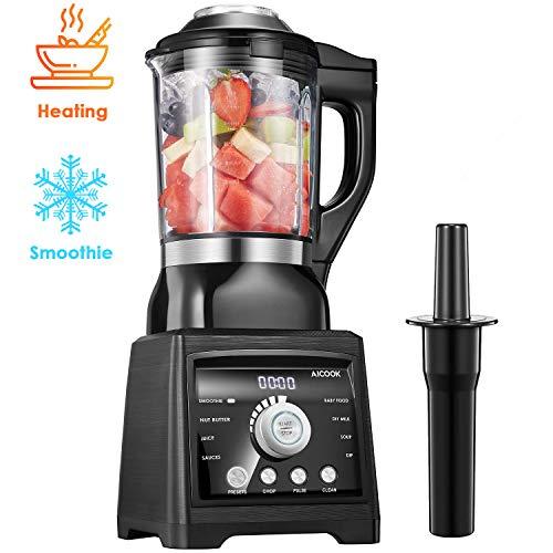 Standmixer Smoothie Maker, AICOOK 1400W Suppenhersteller, 1.75L Glasbehälter mit Intelligente Heizung Element, 8 Vorprogramme Hochleistungsmixer [Energieklasse A+++]
