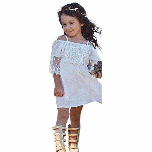 Uomogo® abito ragazza in pizzo con fiocco senza maniche bambine vestito principessa abito garza abiti da sera matrimonio cerimonia 1-6 anni (età: 6-7 anni, bianca)