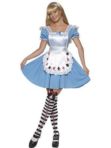 Halloweenia - Damen Frauen Kartenspiel Kostüm im Hausmädchen Stil, perfekt für Karneval, Fasching und Fastnacht, S, Blau