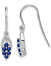 fdfa8940178a Pendientes colgantes de plata de ley 925 chapados en rodio con diamantes y  zafiro (1