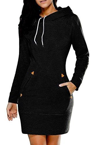 Damen Mode Hoodie Minikleider Langarm Pulli Sweatshirt Pullover Kapuzenpullover Jumper