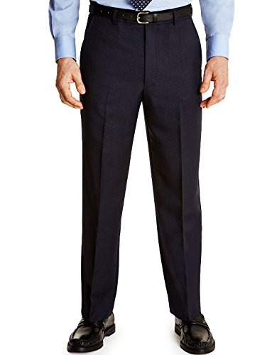 Mens Farah Flex Trouser With Self-Adjusting Waistband Navy 40W x 29L