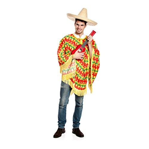 Kostümplanet® Poncho Chilli Mexiko-Kostüm Herren Mexikaner ONE ()