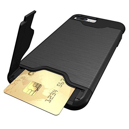 """Cover pour Apple iPhone 7Plus 5.5"""", CLTPY Portable Brushed 2 en 1 Dual Layer Etui en Portefeuille Doux Gel Rubber + Difficile Tough Plastique Couvercle avec Fente Carte et Kickstand Protection Extreme Noir B"""