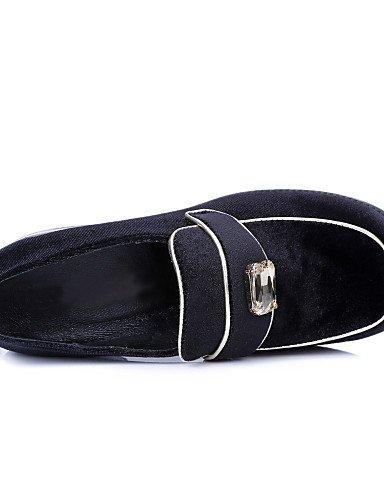 ZQ gyht Scarpe Donna-Mocassini-Ufficio e lavoro / Casual-Chiusa / Punta squadrata-Basso-Velluto-Nero , black Black
