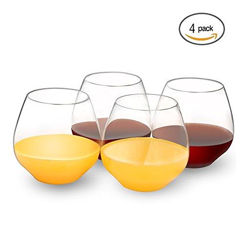 QHYK Verres en plastique de vin, 4PCS, sans BPA - Reutilisable - Tumbler - friendly - Shatterproof - Smooth Rims - High Quality Glasses Mieux que les lunettes en polycarbonate pour les fêtes, mariages, camping, pique-nique, jardin et extérieur - Crystal Clear - 18oz
