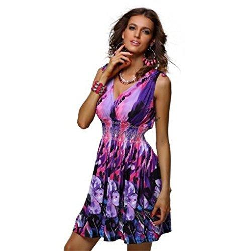 JYJMFrauen-Sommer-Blumenstrand-Partei-sexy Riemchen-tiefer V-Ausschnitt-Kurzschluss-Minikleid Damen Vintage Strandtunika Maxikleider Beachwear Strandkleid im Ethno-Style Party Kleid (XL, ()