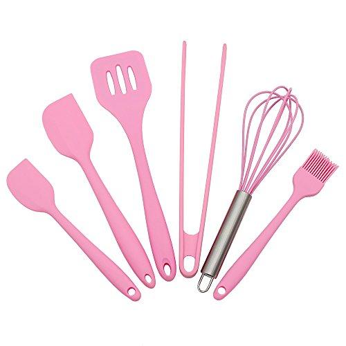 Ustensiles de cuisson en Silicone Sets- 6 Pièces Set de Pâtisserie en silicone premium – Pince, Fouet, 2 tailles Spatule à pâtisserie, Brosse, Spatule à Clair-voie – Ustensiles de Cuisson Résistant à la Chaleur (Rose)