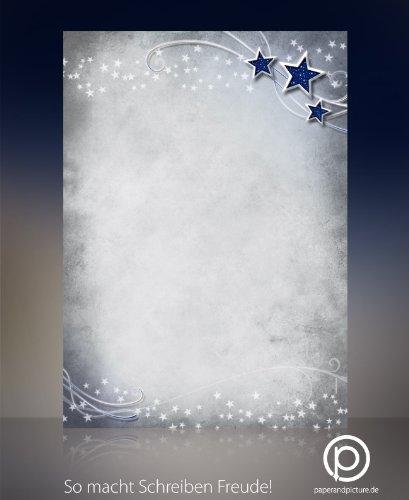 Weihnachtsbriefpapier SIMPY STARS, 20 Blatt hochwertiges 100g/qm-Papier für stilvolle Weihnachtsbriefe