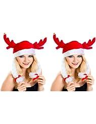 2 er Set Weihnachtsmütze Nikolausmütze Wikinger Hut mit Zöpfen X3