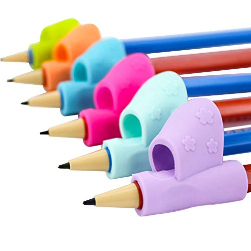 Bicolor, supporto reggipenna per bambini, ergonomico, per aiutare i bambini nella scrittura, nell'impugnatura e per correggere la postura, 6 pezzi