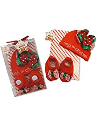 Baby Christmas Hat & Booties Set With Baby's 1st Christmas Detail With Bow Presented In A Clear Gift Box - Size 0-6 Months