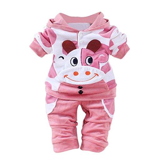 LCLrute New Mode Top-Qualität Samt Kapuzen Neugeborene Baby Mädchen Jungen Cartoon Kuh Warm Outfits Kleidung Samt Kapuzenoberteile Set (80, (Anzüge Neugeborenen Baby)