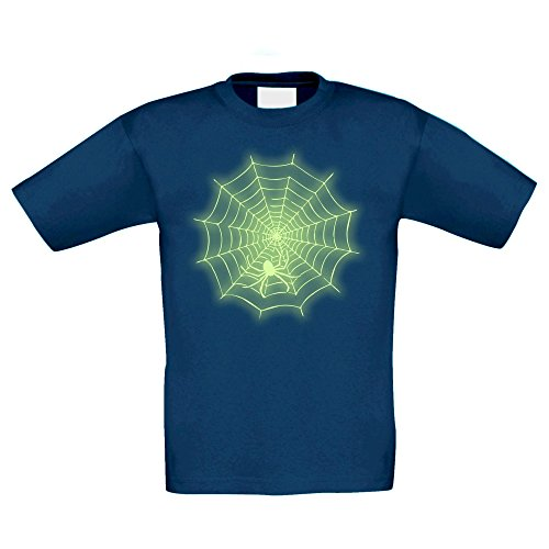 T-Shirt Kinder Halloween -- Spinne im Netz, dunkelblau-glow, (Cool Hallowen Kostüme)