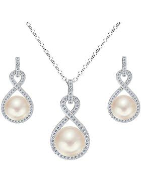 Clearine Damen 925 Sterling Silber Hochzeit CZ Cream Süßwasser-Zuchtperle Unendlichkeit Halskette Ohrringe Schmuck...
