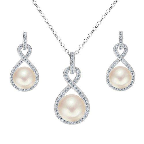 Clearine Damen 925 Sterling Silber Hochzeit CZ Cream Süßwasser-Zuchtperle Unendlichkeit Halskette Ohrringe Schmuck Set Klar Rhodium-Ton