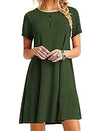 YMING Femme Robe d'été Loose Midi Robe Manches Courtes Casual Robe Basique Grande Taille,armée Verte,XXXL/FR 48-50