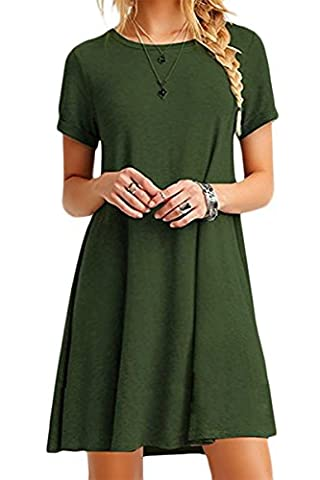 YMING Damen Kurzarm Kleid Lose T-Shirt Kleid Rundhals Casual Tunika Mini Kleid,Armeegrün,M / DE 38
