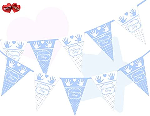 Naming Day Sky Blue and White Polka Dots, Hands and Heart Celebration Themed Bunting Banner 15 flags for simply stylish party decoration by PARTY