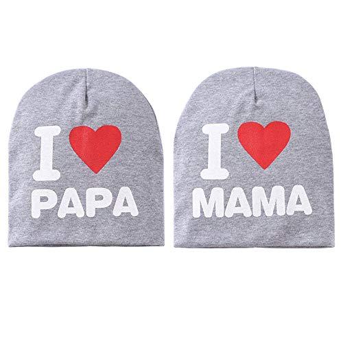 Babymütze Kleinkind Mütze Warm gestrickte Mütze Mütze, süße Mütze für Kleinkind Baby Jungen Mädchen von 6 Monaten bis 3 Jahre alt, ich liebe Mama/Papa Baby Mütze 2er Pack