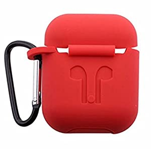 J Silicone Shock Proof Protection Sleeve Skin Carrying Bag Box Cover Case for Apple AirPods Wireless Headset headphones Earphone Red