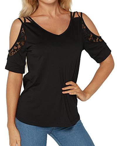 YOINS Off Shoulder Shirt Damen Oberteile Elegant Sexy Schulterfrei Bluse T-Shirt Tops Einfarbig