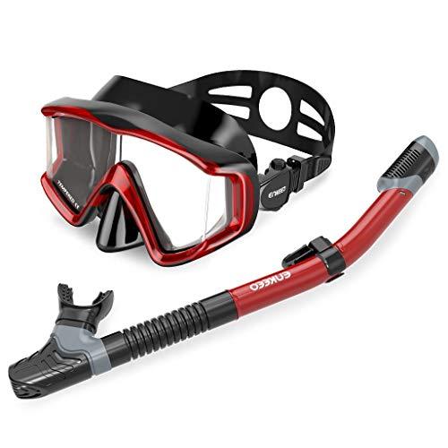 ENKEEO - Máscara de Buceo Snorkel Ultralight 180 ° de Ancho con Vista panorámica y Snorkel Completo Anti-Fugas, Vidrio Templado antiniebla, Correa Ajustable para Adultos y Niños