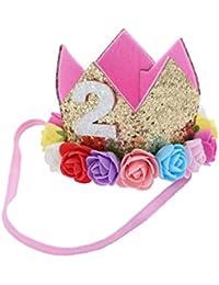 Frcolor Princesa Corona Cumpleaños para Bebé de Flor 2 Año Edad con Flores Colores