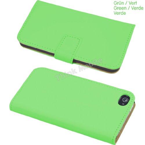 Apple iPhone 6 TPU Gel Case - Blau Apple iPhone 6 Tasche Flip Case Leder Cover Schutz Hülle Etui Schale - thinkmobile Grün Brieftasche + Schutzfolie + Griffel