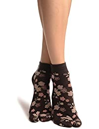 Sakura Flowers On Slate Grey Japanese Ankle High Socks - Socks - Gris Calcetines Talla unica (37-42)