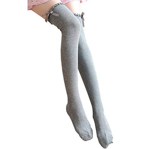 Bakicey Damen Kniestrümpfe Mädchen Socken Overknee Strümpfe Bowknot Strumpfhosen Baumwollstrümpfe Stricksocken Stützkniestrümpfe Gestrickte Socken Hoch Über das Knie Socken Lange Socken (Grau)