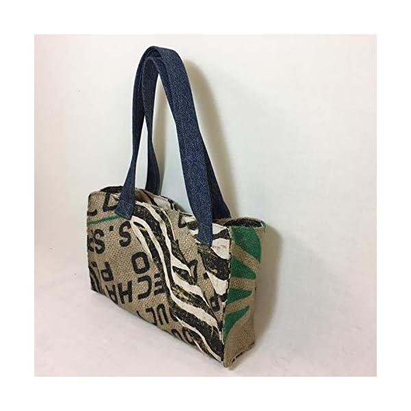 Sparkling zebra print up cycled vegan jute coffee sack handbag, 20 x 35 cm with magnetic button - handmade-bags