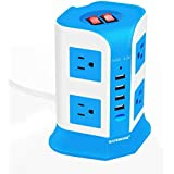 USB Power Strip Surge Protector Multi Electrical Outlet 8 Outlet 4 USB Port With 6.5 Feet Long Cord 2100 Joules Surge Suppressor Protection Vertical Socket For Home And Office-Safemore(White + Blue)