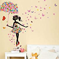 yuangong Butterfly Flower Fairy Stickers For Kids Rooms Girls Decals DIY Poster Living Room Wall Sticker Home Decor for Home Decoration