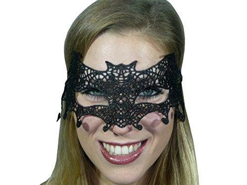 HO-Ersoka Damen Augenmaske Spitze Fledermaus Style schwarz (Fledermaus Gesicht Kostüm)