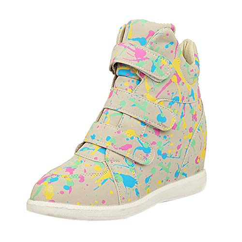 MYMYG Damen Freizeit Winter Schuhe Student mit flachem Boden Einzelne Schuhe erhöhen innerhalb Frauen Wedge Casual Schuhe Walkingschuhe Freizeitschuhe Schlüpfen Stiefeletten