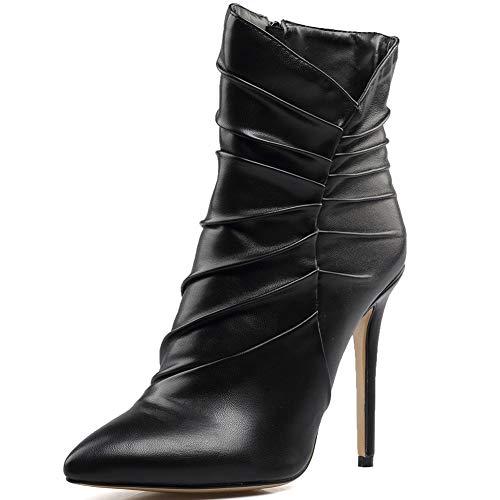 CYMIU Frauen Lady Spitz Schwarz Fein High Heel Stiefeletten Stiletto Mid-Calf Pump Large Size Booties, Black - Oxford Pumps