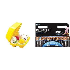 Tomy Toomies Huevos Encajables Formas (BIZAK 30691581) con Duracell - Ultra AA con Powerchek, Pilas Alcalinas (paquete de 12) 1.5 Voltios LR06 MX1500