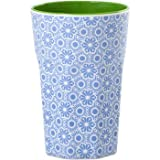 rice Becher Melamine Two Tone Latte Cup Marrakesh Print MAX Temp. 90C (Blue & White innen Apple Green)
