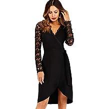 5ce153a02cc SOLY HUX Mujer Vestidos Ajustados Vintage Encaje Floral Coctel Vestido