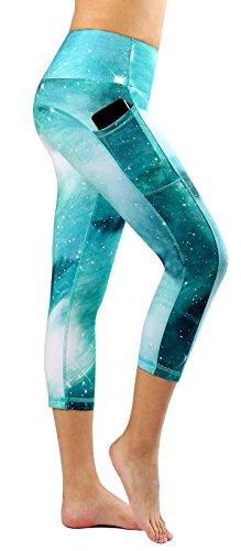 Munvot Tailored Geschenke Schön Galaxy Printed Tummy Control Yoga Pants Sport Leggings Blickdichte Leggings Training Tights Hohe Taille Strumpfhose (XL, Pfau grün Shorts)