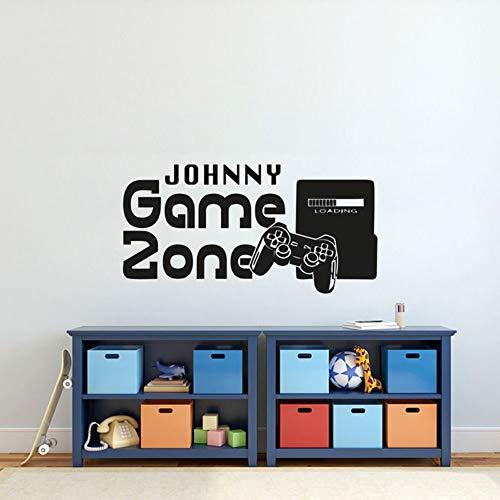 Gamer Wandaufkleber Kundenspezifische Name Game Zone Wandtattoo Video Game Controller Kinder Schlafzimmer Vinyl Wandkunst Aufkleber 42X83 Cm -