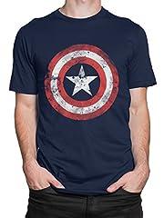 Idea Regalo - Capitan America - Maglietta a Maniche Corta per Uomo - Large