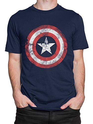 Camiseta para hombre del Capitán América. Hecha de algodón suave y cómodo con cuello circular y manga corta, esta camisa es super para usar en cualquier día. Con un gráfico grande del escudo de este super heroe en el frente del top, esta camisa azul ...
