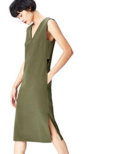 FIND Vestido Geométrico con Aberturas Laterales para Mujer, Verde (Khaki), 40 (Talla del Fabricante: Medium)
