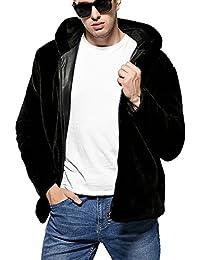 Hombres Abrigo de piel sintética de pelo de invierno Chaqueta de Invierno Parka con Capucha