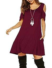 Vestido de Lino de Verano de Las Mujer Cuello Redondo de Color sólido Simple de Gran