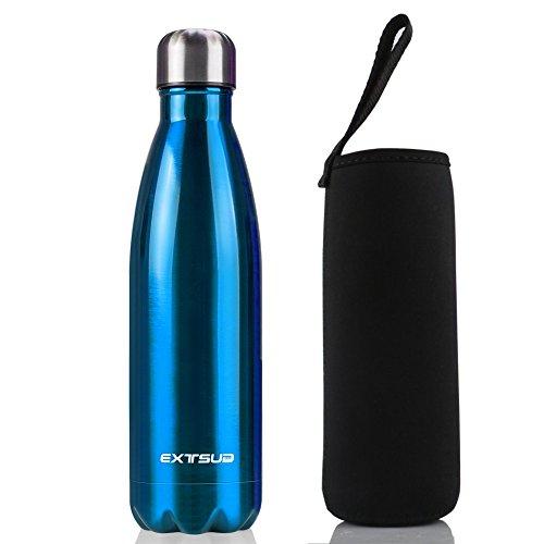 EXTSUD 500ml Bottiglia Termica in Acciaio Inox Borraccia Termos Mantiene 24 Ore Freddo 12 Ore Caldo Chiusura Ermetica Senza BPA Bottiglietta Sottovuoto per Outdoor Sport Inverno/Estate (Blu)